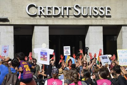 Swiss bank protest