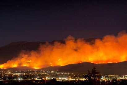 A wildfire burns in California, July 2020