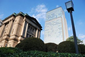 Bank of Japan building with the Nihon-bashi Mitsui Tower in the bakcground