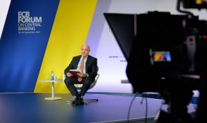 Luis de Guindos, vice-president of the ECB, speaking at the bank's forum on central banking